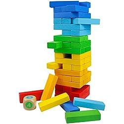 TONZE Juegos de Mesa Juguetes Madera Montessori Juguetes Madera de Colores Juego para Adultos e Infantil