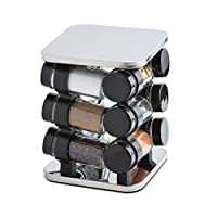 ModernHome 12 Piece Stainless Steel Spice Rack Carousel, Silver