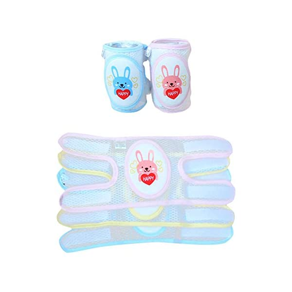 BonTime 2 Piezas bebé Gatear Rodilleras niño Antideslizante Almohadillas de Codo, Doble propósito protección de… 3