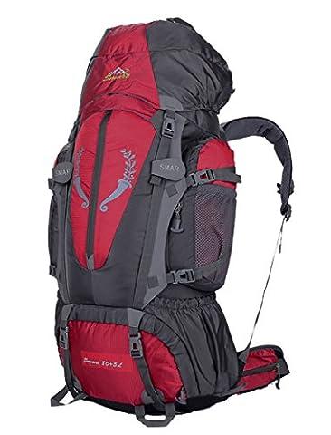 Smart Sac à dos de randonnée Sac 85L Grande Aventure de voyage Trekking, femme Enfant Homme mixte, Yy-js-85l, Red, 80*41*17cm
