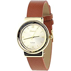 Geneva Japanese Movement Stainless Steel Back Casual Tan Faux Leather Strap Watch