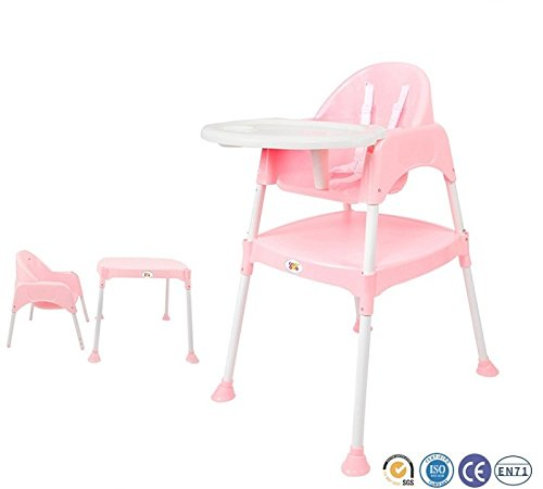 Baby High Chair BPA FREE / Adjustable Portable Space Saver Convertible 3-in-1 / Anti Skid (Pink) by Bey Bee