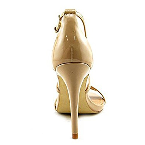 Damen Open Toe Sandalen High-Heel Stiletto Criss Cross Schnalle Gold