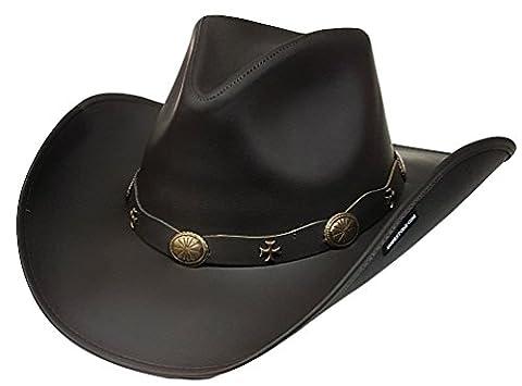 Modestone Unisex Leather Chapeaux Cowboy Wide-brim maltese crosses Brown