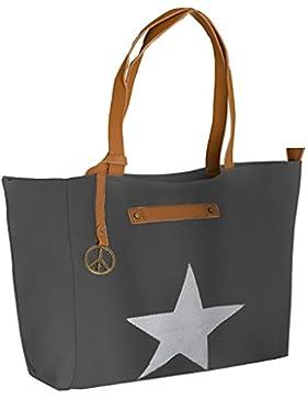 Canvas-tasche mit Stern-XL Handtasche - TOP TREND Tragetasche 50x32x16 cm