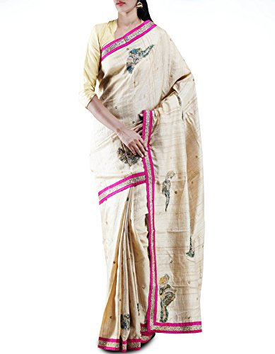Unnati Silks Women Cream royal pure ghicha jute tussar silk Handwoven & Hand Embroidered saree
