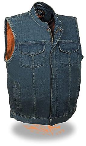 Men's SOA Denim Vest Concealed Snap w/ Hidden Zipper w/ 2 Inside Gun Pockets (XX-Large, Blue)