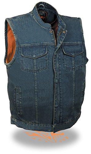Hombres de SOA Denim chaleco oculta (W/Cremallera Oculta W/1pistola de bolsillo interior