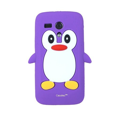 Casotec Penguin Silicone Jelly Back Case Cover for Motorola Moto G - Purple  available at amazon for Rs.125