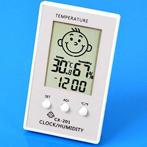 Termometro digitale LCD Igrometro Sorriso del bambino Pianto Igrometro Stazione meteorologica Tester Orologio bianco