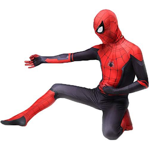 QWEASZER Spider-Man: Weit Weg von zu Hause, Unisex Lycra Spandex Zentai Halloween Pretend Party Cosplay Kostüme Anzug Erwachsene/Kinder 3D-Stil,Spiderman Black Red-185~190cm