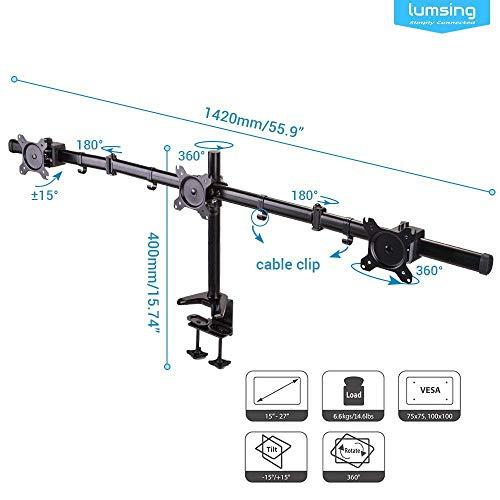 """Monitorhalterung für 3 Monitore, Lumsing Monitorständer Monitorarme Tischhalterung neigbar schwenkbar für 3 LCD/LED Computer Bildschirme in Größe 13"""" (33cm) - 27"""" (68cm)"""