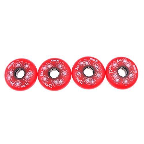 MagiDeal 4 Stücke Inline Skate Rollen Inliner Rollen Set 84A (72mm 76mm 80mm) Schwarz / Rot - Rot, 72mm