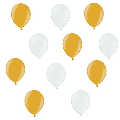 50 x Premium Luftballons je 25 Weiß und Gold metallic - ca. Ø 28cm - EU WARE nach EN 71-50 Stück - Ballons als Deko, Party, Fest, Hochzeit, Silvester - für Helium geeignet - twist4®