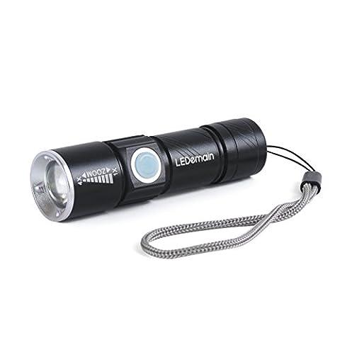 Mini Flashlight Torch, LEDemain USB Rechargeable XM-L T6 LED Lamp 3 Mode Adjustable Focus Zoom Aluminum Alloy Outdoor Portable Torch Light