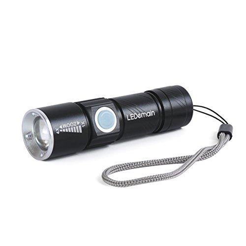 Preisvergleich Produktbild [LEDemain] Einstellbarer Fokus ZOOM 350 Lumen wiederaufladbare CREE XM-L T6 LED Taschenlampen / Kopf-Lampen / Fahrrad-vorderes Leuchtturm (Mini LED USB aufladbare Taschenlampe)