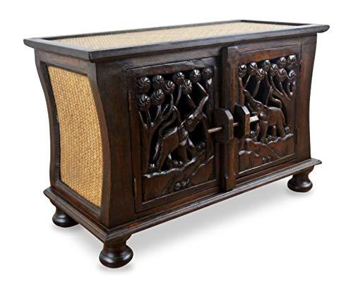 livasia Rattansideboard mit Elefantenschnitzerei, asiatische TV-Möbel der Marke Asia Wohnstudio, HiFi-Sideboard, Sitzbank, Massivholz