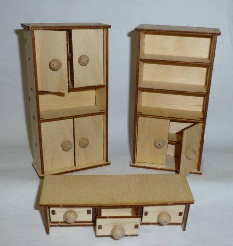 Preisvergleich Produktbild Puppenhausmöbel 27236 Schrankwand für Wohnzimmer 1:12 Erzgebirge