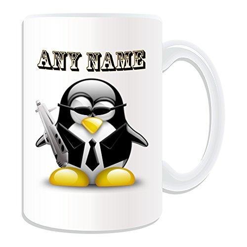 007 Girl Kostüme (Personalisiertes Geschenk, großer Spy Agent Tasse (Pinguin in Kostüm Design Thema, weiß)–alle Nachricht/Name auf Ihre einzigartige–Cool Gun)