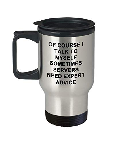 Stainless Steel 14 oz Travel Mug, Servers Travel Coffee Mug Funny Unique Expert Best Novelty Gift...