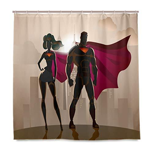 Wamika Badezimmer Dusche Vorhang männlich Weiblich Superhelden Design Haltbarer Stoff Bad Vorhänge Schimmelresistent Wasserdicht Badezimmer 12Haken 183,0cm x183,0cm