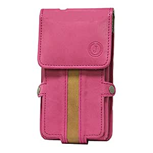 Jo Jo A6 Nillofer Series Leather Pouch Holster Case For Lava KKT 15+ Pink Tan