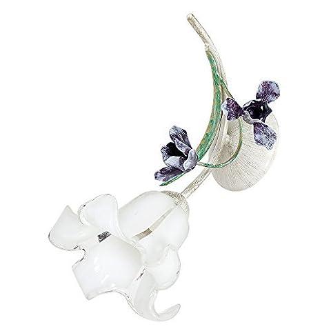 Gemütliche Wandleuchte in Shabby Weiß Floraler Stil 1x E27 bis zu 60 Watt 230V aus Glas & Metall Flur Wohnzimmer Esszimmer Lampe Leuchten Wandlampe