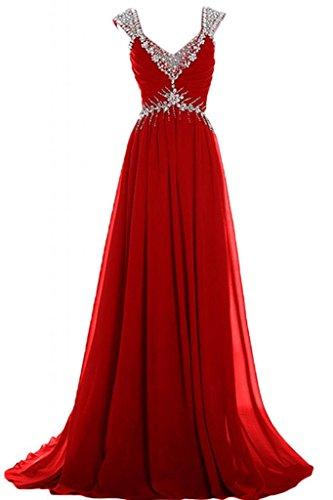 Sunvary lungo elegante A-Line Chiffon con abiti da sera o da cerimonia, con scollo A V, Mother's Gowns Rosso