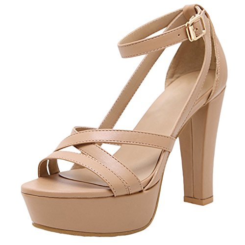 Azbro Women Pu Leather Strapy High Platform High Heel Shoes Nude