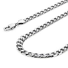 Idea Regalo - Collana da Uomo Classica in Acciaio Inox 316L Tonalità Argento 46, 54, 59 cm, (6 mm)