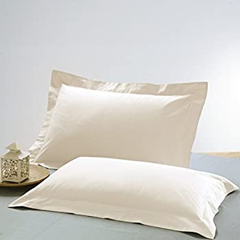 Ahmedabad Cotton 2 Piece 300 TC Cotton Standard Luxurious Solid Pillow Case Set - Ivory