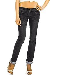 Bestyledberlin pantalon en jean femme, jean slim fit taille basse j52i