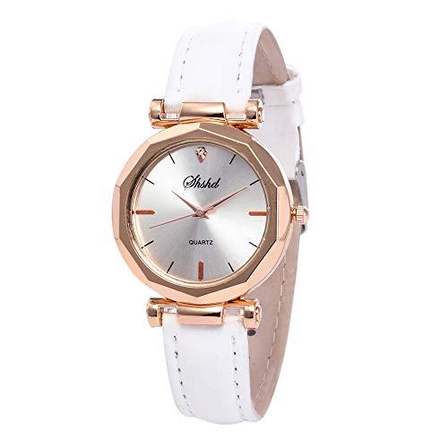 Armbanduhr Damen Ronamick Mode Frauen Leder Casual Watch Luxus Analog Quarzkristall Armband Uhr Uhren (Weiß)
