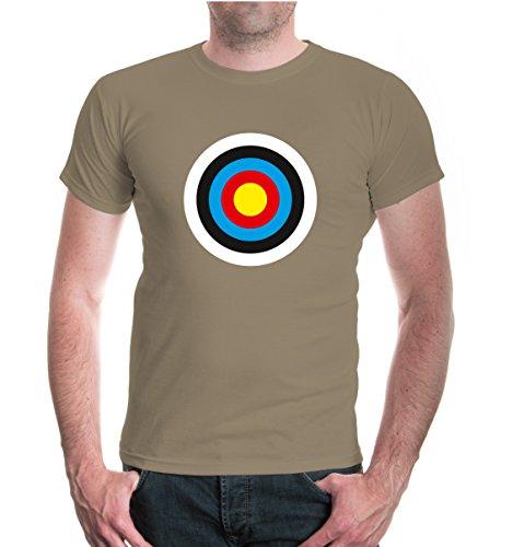 buXsbaum® Herren Unisex Kurzarm T-Shirt bedruckt Zielscheibe | Schießscheibe Scheibe Sündenbock | L khaki-z-direct Beige - Arrow Khaki