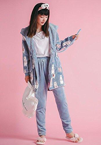 pigiama invernale da donna set 2 pezzi morbido addensare loungewear, M-XL Colore dell'immagine
