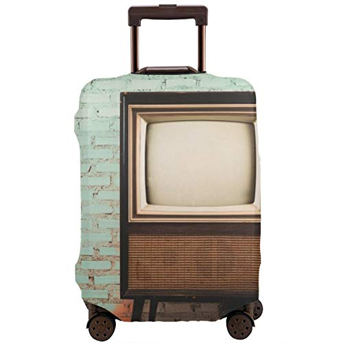 Travel Suitcase Protector,Retro Old Television In Vintage Wall Pastel Color Background,Suitcase Cover Washable Luggage Cover M (Red Tv Stand)