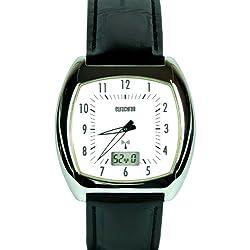 Eurochron 064/1601.00 (Junghans Mechanism) Digital Watch Stainless Steel Case Leather Strap