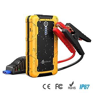 Auto Starthilfe, iClever 15000mAh Spitze 600amp Tragbare Starthilfe Boost Engine externe Power-Bank mit mehrfacher geschützter intelligenter Klammer, 100 Lumen LED-Licht mit Dual USB Ausgänge