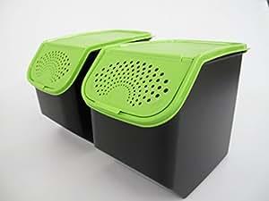 TUPPERWARE K21 Coffre à pommes de terne 8,3 L noir vert (2)
