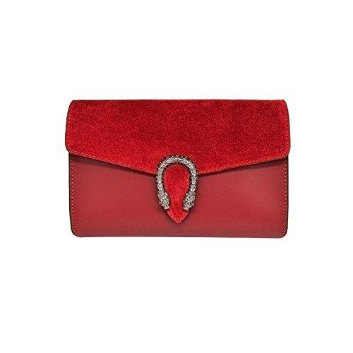 RONDA Umhängetasche Handtasche mit Kette und Schließen von Zubehör metallischen dunklem Nickel, Glatteleder und Wildleder, Hergestellt in Italien Kupplung rot