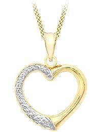 Carissima 9 Karat 375er Zweifarbig Gold Offene Herz Kette 46cm -1.15.7414