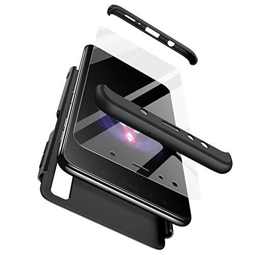 Preisvergleich Produktbild Karomenic 360 Grad Hülle + Panzerglas kompatibel mit Huawei P30 Lite Hart PC Schutzhülle 3 in 1 Full Body Rundumschutz Stoßfest Ganzkörper Bumper Handyhülle Hardcase Cover, Schwarz
