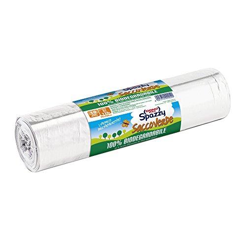 Domopak Spazzy Sacchi Nettezza Saccoverde con Manici - 100% Biodegradabile - Condominiale 110 lt - Trasparente - 1 confezione da 10 pezzi
