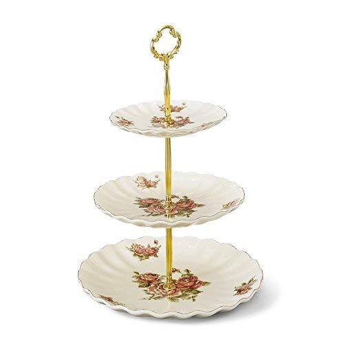 Panbado Elfenbein Porzellan Etagere 3-stöckig, Cremefarbe für Kaffeservice, Tee Set