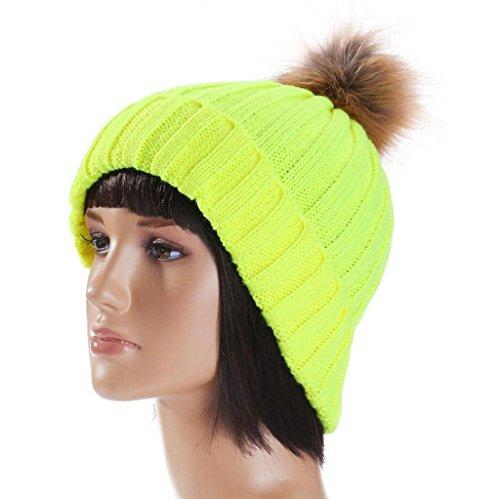 Vovotrade ❀❀Chapeau Hiver Chaude Chapeau Crochet Tricoté Casquette de Laine avec la Boule Mignonne de Fourrure Vert
