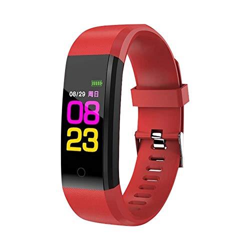 Sguan-wu Fitness Armband, Fitness Tracker mit Pulsmesser,Farbbildschirm Aktivitätstracker Fitness Uhr wasserdichte Armband Sport Smart Armband Schrittzaehler Smart Watch Red -