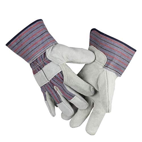 Arbeitshandschuhe Elektro-Schweiß Handschuhe Kurz Ansatz halbes Leder Casting Stahl Handhabung Thick Kleidung Leder Thorn Proof Gartenhandschuhe (Size : L) -