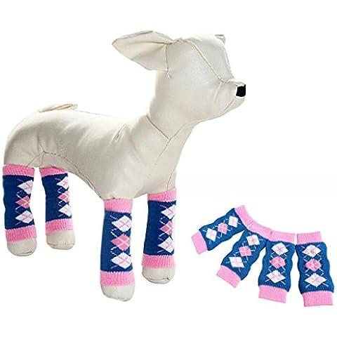 Sannysis calcetines largos para perros ropa accesorio para mascotas (Azul, S)