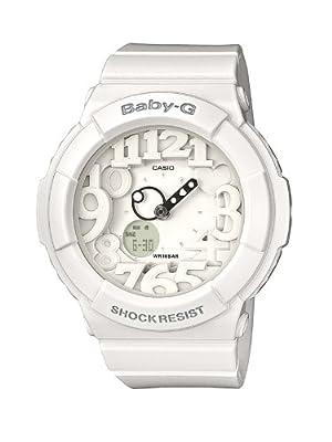 Reloj analógico-digital de cuarzo Casio Baby-G de mujer con correa de resina blanca (alarma, cronómetro, luz) sumergible a 100 metros