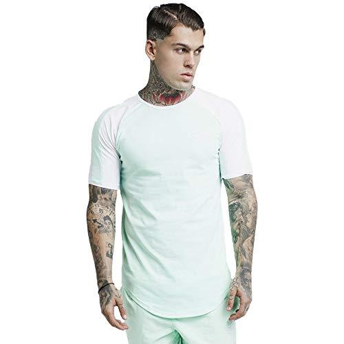 Sik Silk S/S Raglan Contrast Ringer Gym T-Shirt Mint-XS - Mint Ringer T-shirt